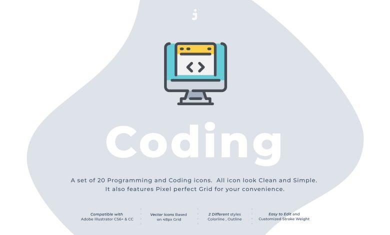 20 Coding icon set for Illustrator