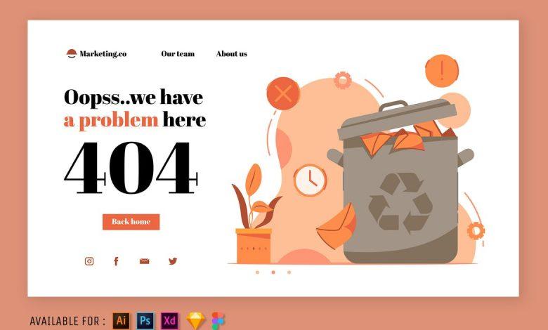 404 Error Page - Web Illustration v2 for Photoshop