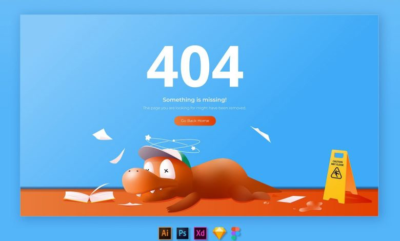 404 Page Web Illustration Template 1
