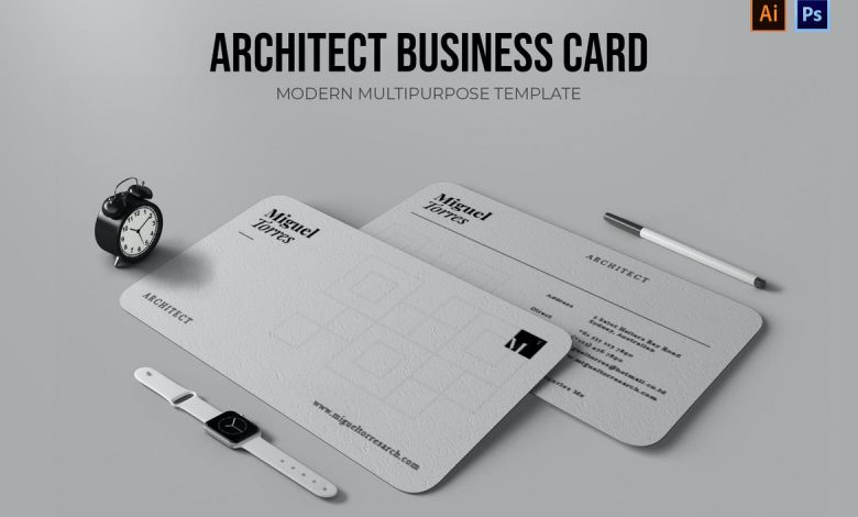 Architect Business Card for Adobe Photoshop and Illustrator