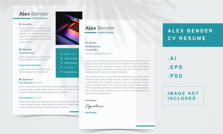 CV Resume Template 2 for Photoshop and Illustrator