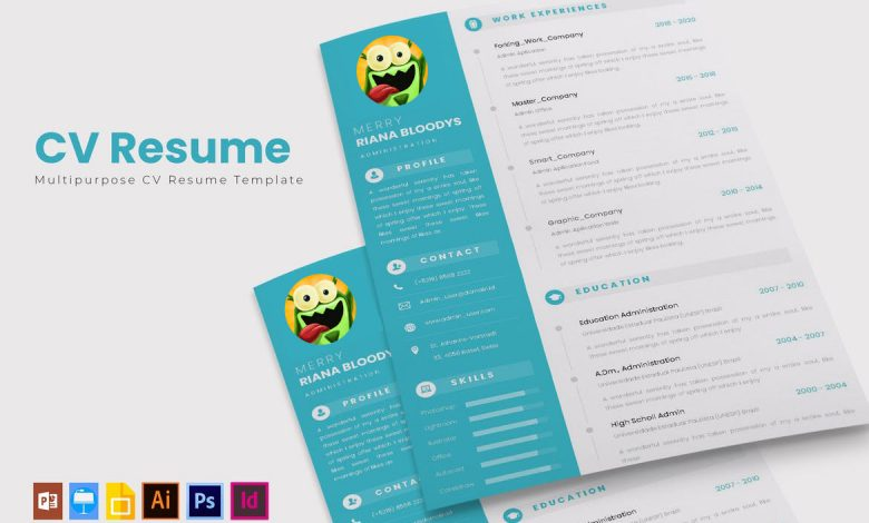 CV Resume Template 3 for Adobe Photoshop and Illustrator