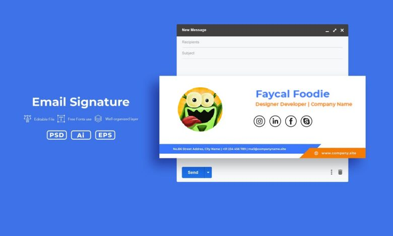 Creative Email Signature v2 for Photoshop and Illustrator