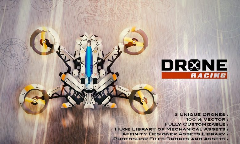 Drones Creation Kit for Photoshop and Affinity Designer