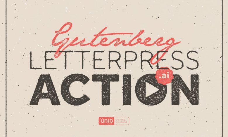 Gutenberg - Letterpress Action for Illustrator