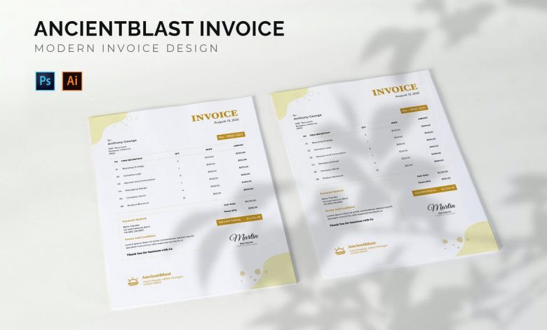 Modern Invoice Design Template 2 for Photoshop and Illustrator