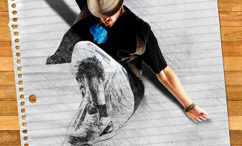 3D Popup Sketch Action for Photoshop