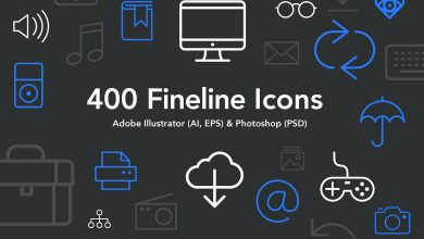 Photo of 400 Fineline Icons for Photoshop and Illustrator