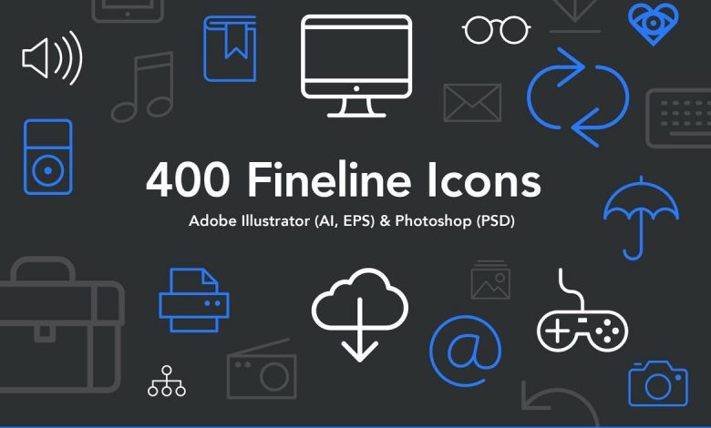 400 Fineline Icons for Adobe Photoshop and Illustrator