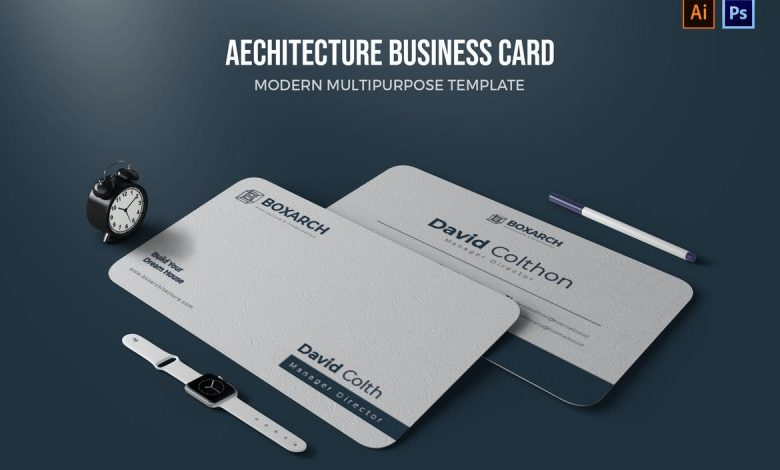 Architect Business Card Template 2 for Adobe Photoshop and Illustrator