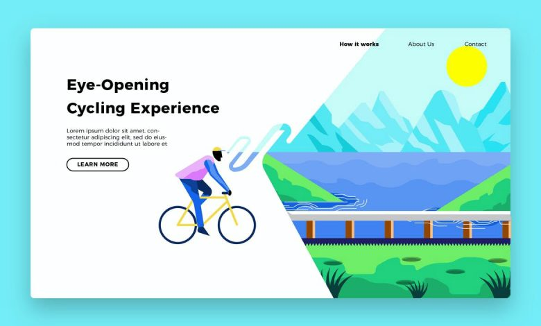 Bicycle Out Banner and Landing Page for Illustrator