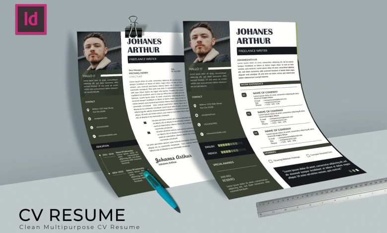 Creative CV Resume Template 1 for InDesign