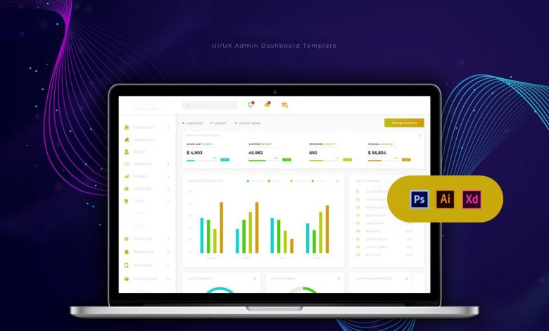 Dashboard Admin Template 2 for Photoshop and Illustrator