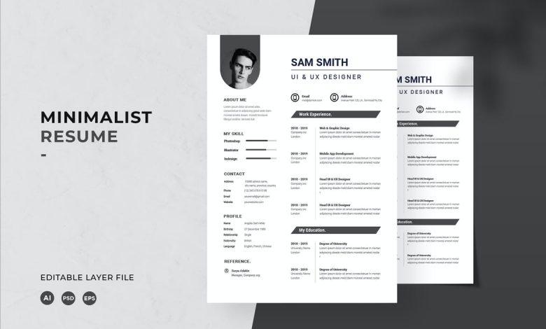 Minimalist Resume Template 1 for Adobe Photoshop and Illustrator